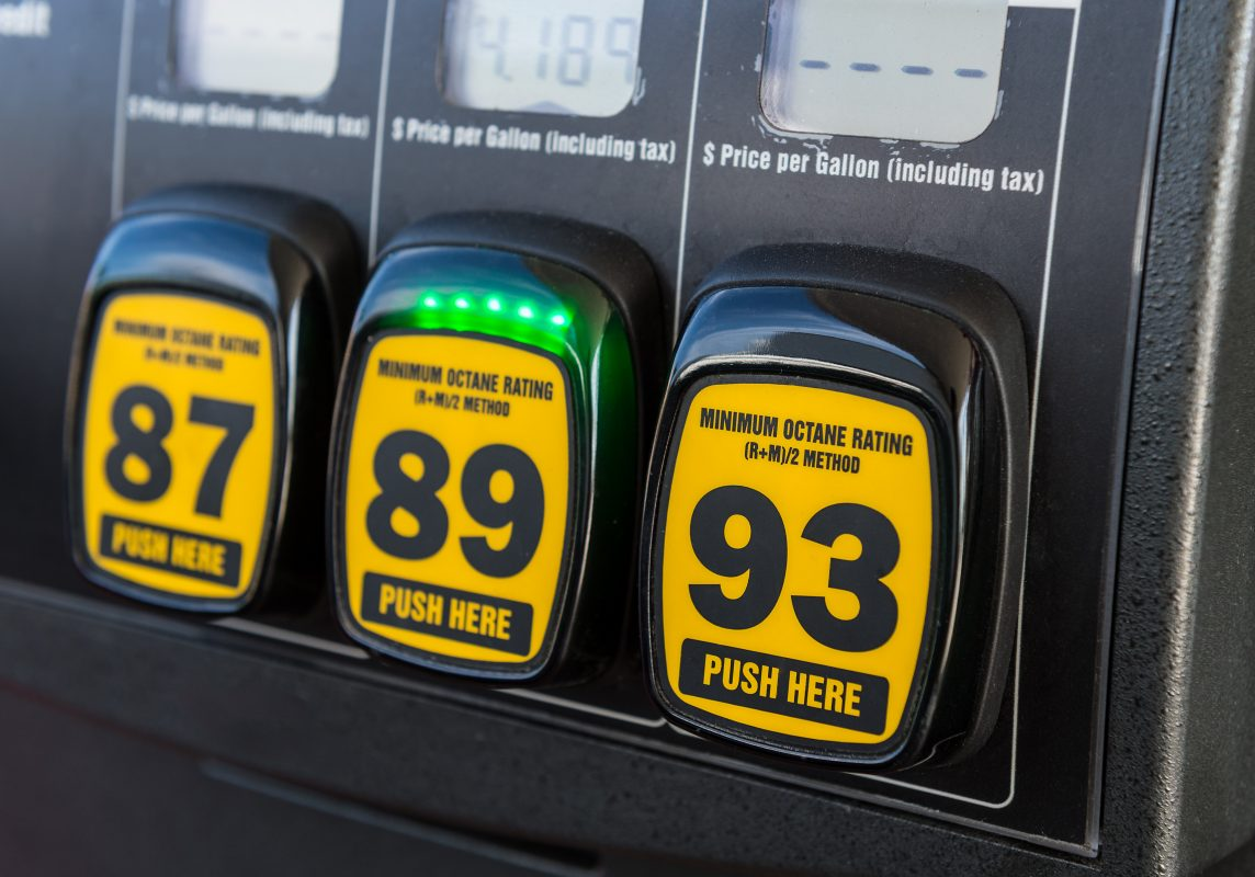 Gas pump octane ratings